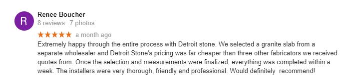 Great Google Review Detroit Stone